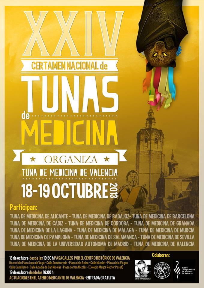 Cartel del certamen nacional de tunas de valencia